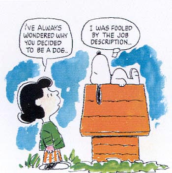 Lucy and Snoopy cartoon - job description
